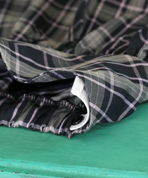 タータンチェック柄スカート「ネイビー」ボリュームフレア ピンク ミニ【ショコラシリーズ 韓国服】