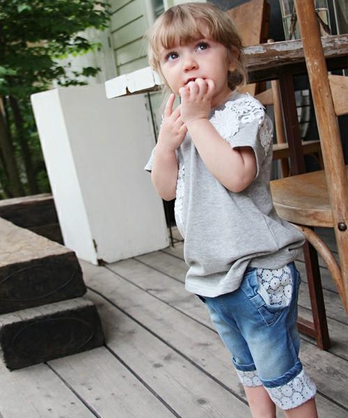 キッズ スキニー 女の子 デニム ジーンズ韓国服 ショコラシリーズ SS スキニー パンツ 5 6 7分丈 子供服 レース リボン ボトムス 夏