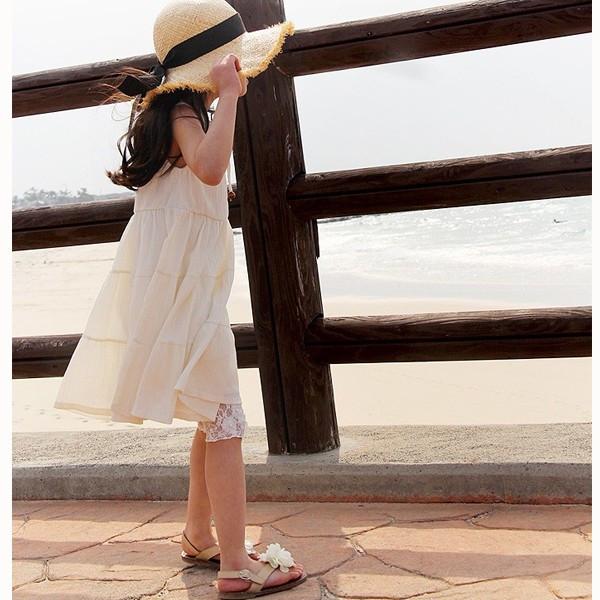 子供 レースレギンス 7分丈 白▼韓国子供服 ショコラシリーズ アイナレース レギンス 夏 レース スパッツ カジュアル フォーマル ホワイト