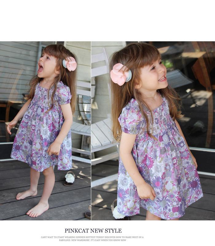 子供服 女の子 韓国服 ショコラシリーズ SS スビーワンピース夏 ワンピース 花柄  キッズ レトロ 半袖ワンピース グリーンパープル ひまわり