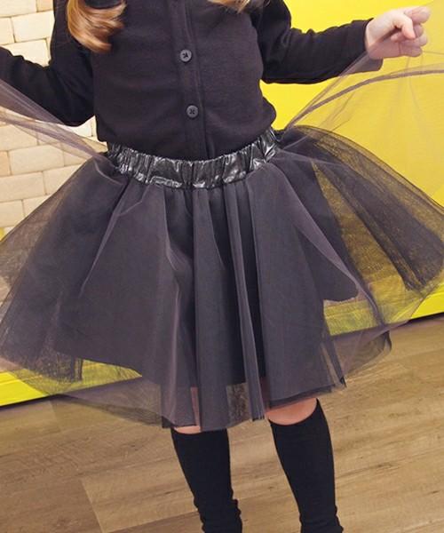 3枚重ねチュールスカート モノトーン「グレー」チュチュ ボリュームフレア 黒灰【ショコラシリーズ 韓国服】