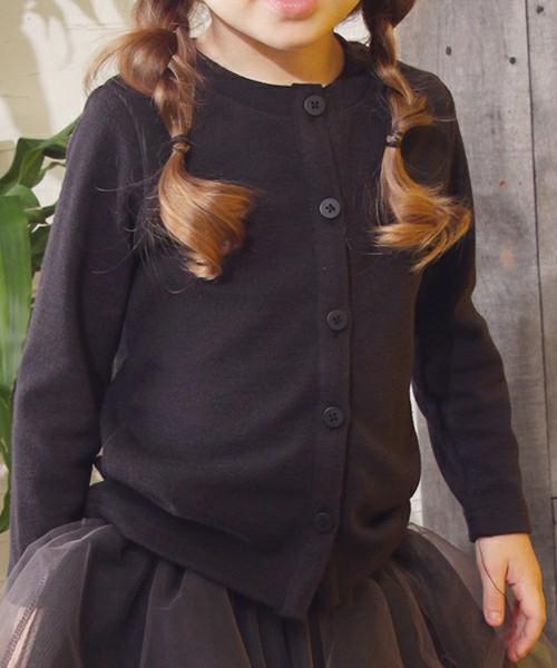 女の子背中リボンカーディガン「ブラック」フォーマルモノトーン【ショコラシリーズ 韓国服】