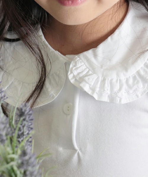 女の子丸襟フリル白ブラウス 「ホワイト」キッズフォーマル【ショコラシリーズ 韓国服】ゆうパケット発送OK(1点のみ)