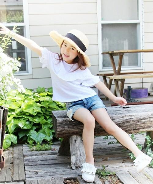 韓国服 ショコラシリーズ SS Tシャツ トップス 女の子 半袖 カットソー 子供 服 白 ホワイト 女の子 夏服  ロンT 無地