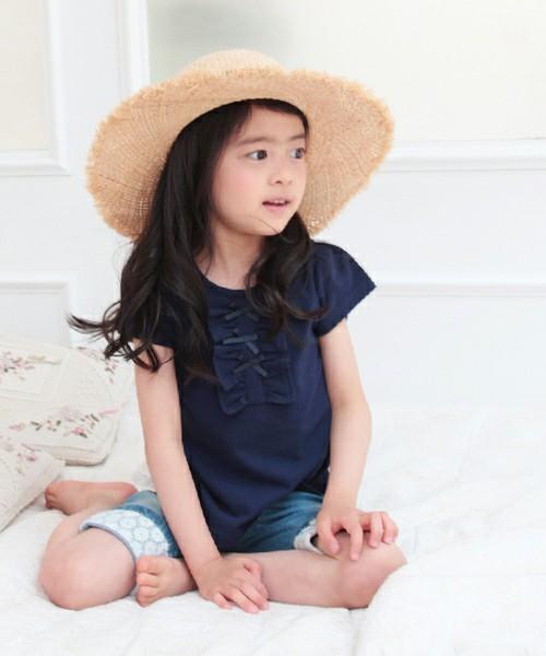 キッズ 半袖Tシャツ 女の子 韓国服 ショコラシリーズ SS フリルTシャツ 紺色 無地 Tシャツ キッズ リボン 半袖カットソー 女