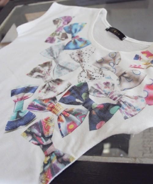 韓国服 ショコラシリーズ SS リボンT 子供服 半袖Tシャツ 女の子 プリント 白Tシャツ シンプル 夏服 リボン ホワイト ノースリーブ 半袖