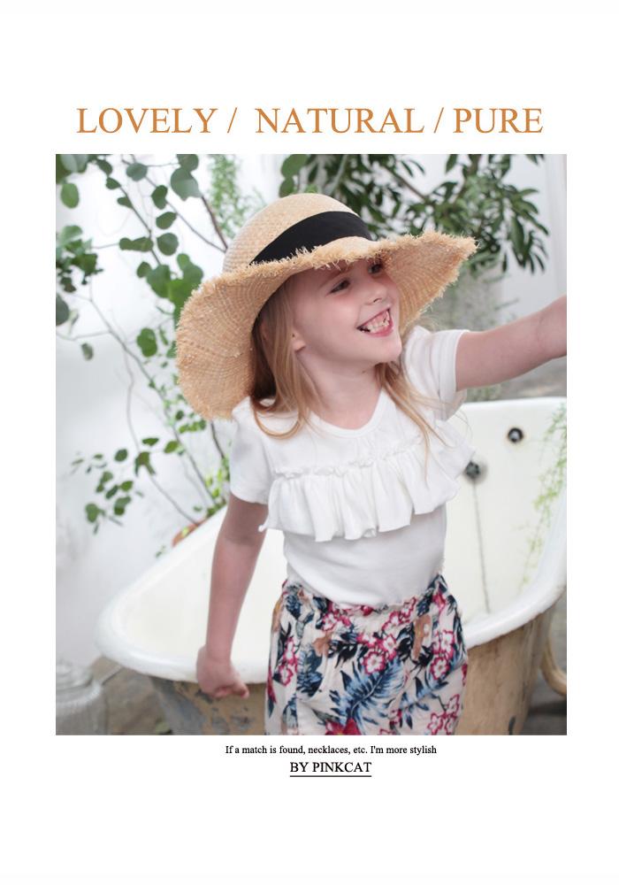 韓国服 ショコラシリーズ SS 半袖Tキッズ Tシャツ 女の子 子供服 フリル 無地 紺色 ホワイト 白 夏 トップス きれいめ キッズ トップス