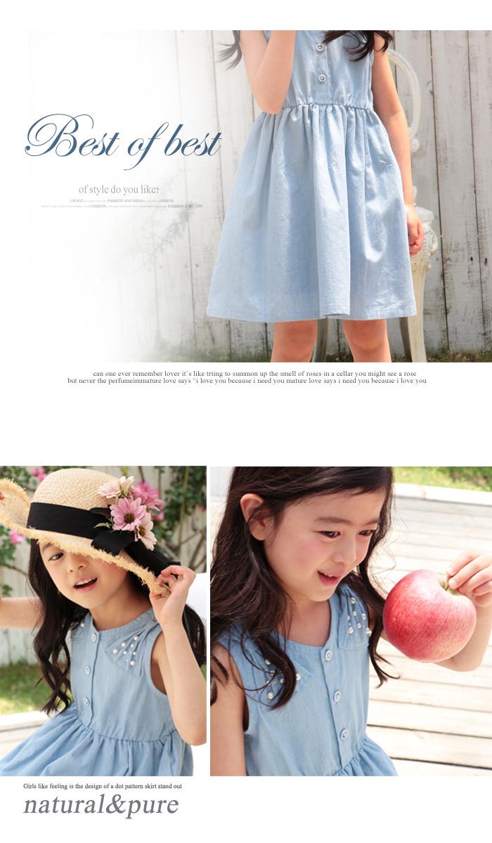 キッズ レース ノースリーブ デニムワンピ 夏 結婚式 CB67  韓国子供服 ショコラシリーズ ノメイ ワンピース 素敵な夏の予感がいっぱい♪子供ノースリーブワンピ  90 100 110cm
