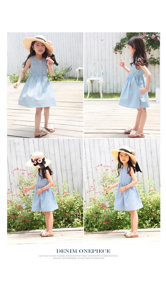 SALE キッズ レース ノースリーブ デニムワンピ 夏 結婚式 CB67  韓国子供服 ショコラシリーズ ノメイ ワンピース 素敵な夏の予感がいっぱい♪子供ノースリーブワンピ  90 100 110cm