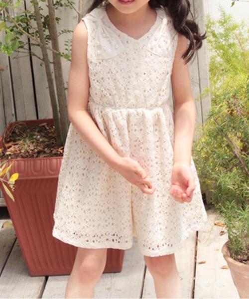 キッズ レース ノースリーブ アイボリー 夏 結婚式 CB67  韓国子供服 ショコラシリーズ ノメイ ワンピース 素敵な夏の予感がいっぱい♪子供ノースリーブワンピ  90 100 110 120 130 140cm