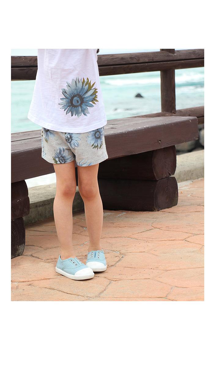 韓国服 ショコラシリーズ SS ジャージ上下 女の子 花柄 ショートパンツ セットアップ ひまわり柄 グレーブルー ホワイト