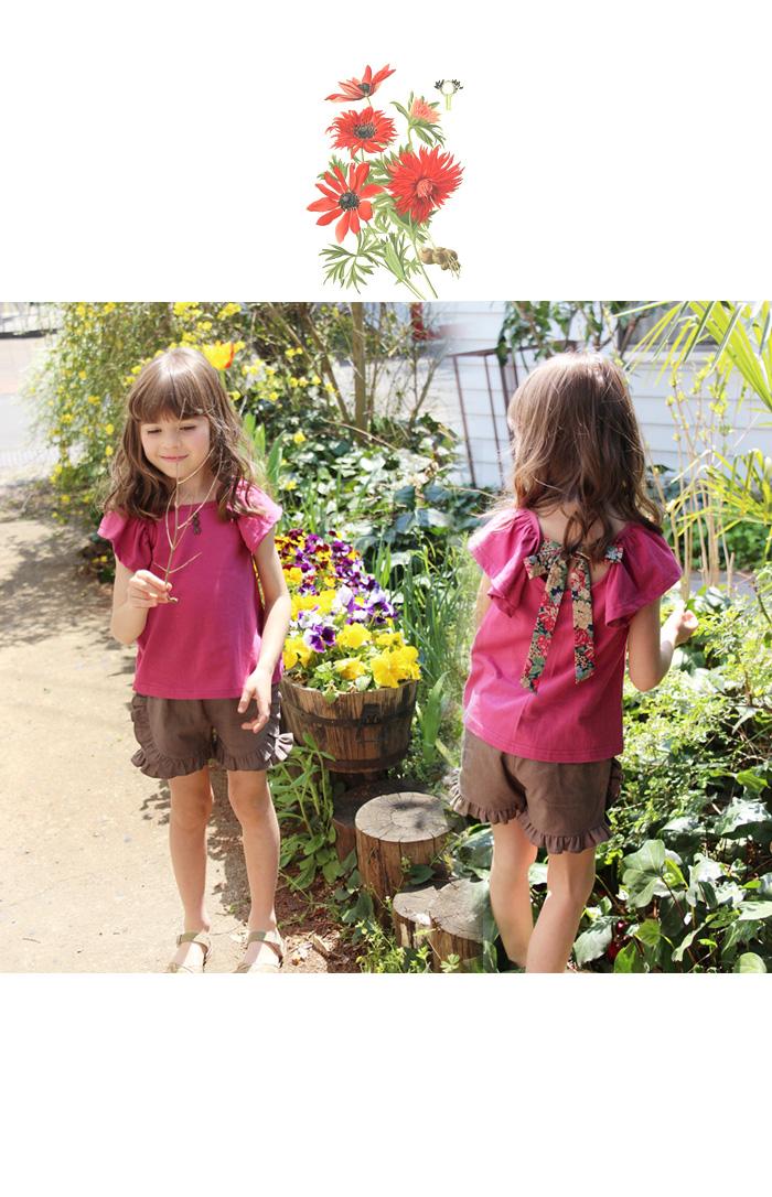 韓国服 ショコラシリーズ SS チュニックT 子供服 フリル リボン 花柄 フレアスリーブ マスタード プラム レトロカットソー 半袖 ノースリーブ