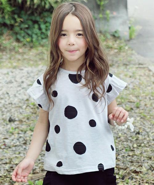 363a7e36021db SALE 韓国服 ショコラシリーズ SS サークルドットTシャツ 子供服 半袖Tシャツ 女の子