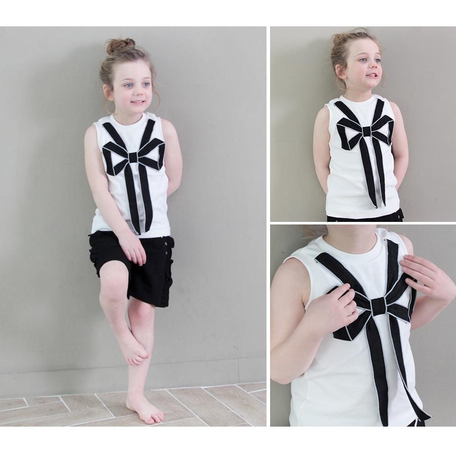韓国服 ショコラシリーズ SS 子供服 タンクトップ ノースリーブ Tシャツ 女の子 キッズ 夏トップス シンプル リボン 無地 白 黒