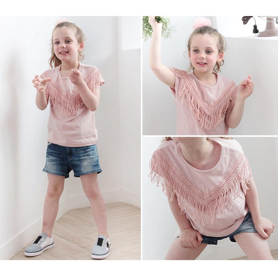 韓国服 ショコラシリーズ SS ルージュ フリンジ 半袖Tシャツキッズ 女の子 フリンジ Tシャツ トップス 子供 カットソー コットン 白 ピンク