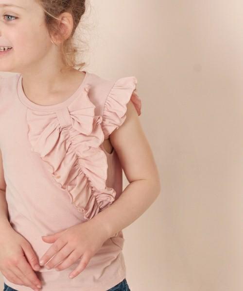 韓国服 ショコラシリーズ SS リズム フリルTシャツ キッズ トップス 半袖 子供服 女の子 夏 ピンク パープル Tシャツ 無地 女の子服