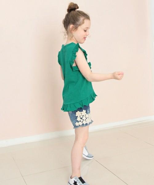韓国服 ショコラシリーズ SS トップスキッズ Tシャツ 子供服 女の子 夏 袖裾フリル 無地 半袖 ノースリーブ ホワイト グリーン レッド 赤