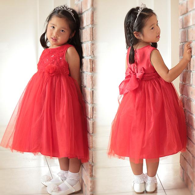 女の子フォーマルドレス  ノースリーブチュールスカートドレス「レッド」