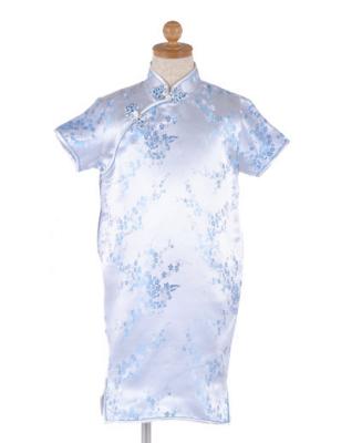 ブルー色子供チャイナドレス ゆうパケット発送OK(1点のみ)