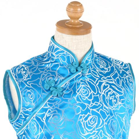 シルバーライトロイヤルブルー色ノースリーブ子供チャイナドレス ゆうパケット発送OK(1点のみ)