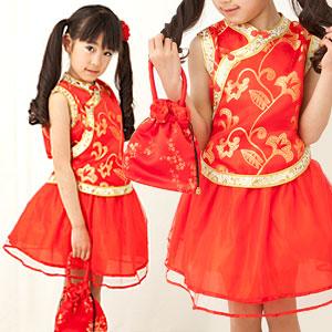 チュチュスカートが可愛いチャイナツーピース「赤」