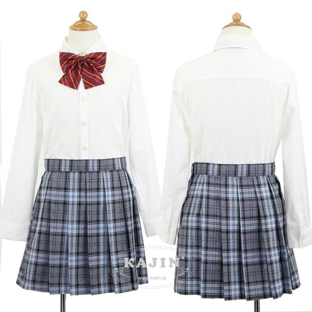 【KAJIN限定】レジメンタルストライプリボンタイ付き長袖ブラウスとチェック柄スカートの3点セット